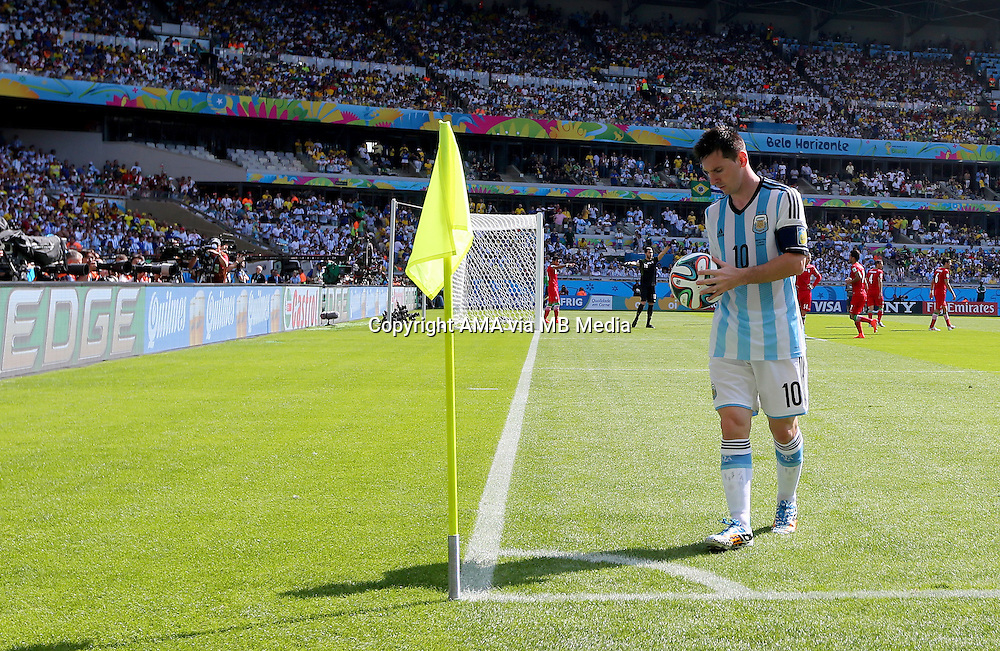 Lionel Messi of Argentina prepares for a corner kick
