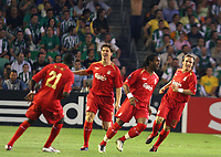 Liverpool fltr Djimi Traore, Xabi Alonso, Florent Sinama and Boudewijn Zenden players celebrate after Sinama scored their first goal against Betis during their Champions League match in Ruiz de Lopera stadium in Seville, Spain, Tuesday 13 September, 2005. (Photo / Alvaro Hernandez)