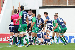 Bristol Rugby's Olly Robinson pushes over the line to score a try - Photo mandatory by-line: Dougie Allward/JMP - Mobile: 07966 386802 - 12/10/2014 - SPORT - Rugby - Bristol - Ashton Gate - Bristol Rugby v Connacht Eagles - B&I Cup