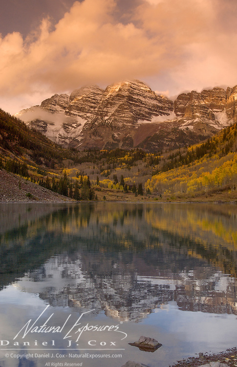 Maroon Lake in the Maroon Bells Snowmass Wilderness near Aspen, Colorado.