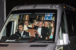 © Licensed to London News Pictures. 04/06/2019. London, UK. Guests leave Winfield House, the US ambassador's residence in Regent's Park in a blacked out people carrier after a dinner hosted by US President Donald Trump and First Lady Melania Trump bringing a  conclusion to day 2 of the state visit to the UK.   Photo credit: Guilhem Baker/LNP