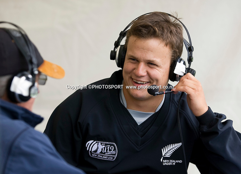 New Zealand captain Craig Cachopa during an interview with Radio sport. New Zealand v Canada, U19 Cricket World Cup group stage match, Lincoln #3, Saturday 16 January 2010. Photo : Joseph Johnson/PHOTOSPORT