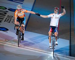 08-01-2012 WIELRENNEN: RABOBANK ZESDAAGSE: ROTTERDAM<br /> (L-R) Teun Mulder, Mickael Bourgain FRA die de sprint heeft gewonnen<br /> (c)2012-FotoHoogendoorn.nl / Peter Schalk