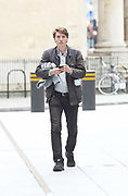 Andrew Marr Show Show <br /> arrivals<br /> at the BBC, Broadcasting House, London, Great Britain <br /> 23rd July 2017 <br /> <br /> James Schneider, Momentum activist &amp; aide to Jeremy Corbyn arrives ahead of Mr Corbyn at the BBC <br /> <br /> Photograph by Elliott Franks <br /> Image licensed to Elliott Franks Photography Services