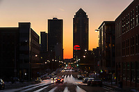 Sunset shot of Des Moines, Iowa, skyline as viewed down Grand Ave in the East Village neighborhood.