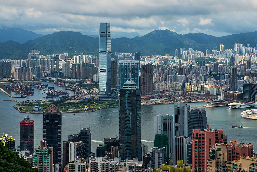 Skylines of Hong Kong (foreground) & Kowloon (background)