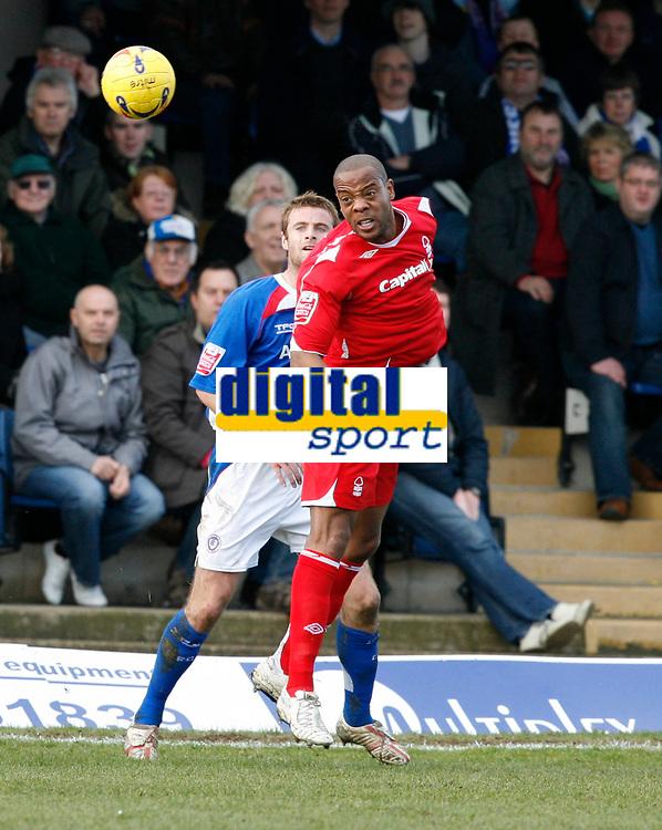 Junior Agogo wins a header for Nottingham Forest