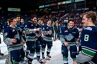 KELOWNA, CANADA - APRIL 30: The Seattle Thunderbirds celebrate the series win and the Western Conference title on April 30, 2017 at Prospera Place in Kelowna, British Columbia, Canada.  (Photo by Marissa Baecker/Shoot the Breeze)  *** Local Caption ***
