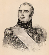 Jacques Etienne Joseph Alexandre Macdonald, Duc de Tarente (1765-1840) French soldier, son of a Scottish Jacobite. Supporter of French Revolution (1789). Marshal of France. Distinguished himself in the Napoleonic Wars, holding command in the Peninsular and Russian campaigns. Engraving.