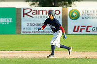 KELOWNA, BC - JULY 24: James Shimashita #8 of the Kelowna Falcons leads off second base against the Yakima Valley Pippins at Elks Stadium on July 24, 2019 in Kelowna, Canada. (Photo by Marissa Baecker/Shoot the Breeze)