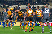 Millwall Midfielder Ben Marshall (44) heads the ball towards goal during the EFL Sky Bet Championship match between Hull City and Millwall at the KCOM Stadium, Kingston upon Hull, England on 26 February 2019.