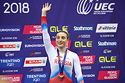 Podium, Women Keirin, Daria Shmeleva (Russian Federation) bronze medal during the Track Cycling European Championships Glasgow 2018, at Sir Chris Hoy Velodrome, in Glasgow, Great Britain, Day 6, on August 7, 2018 - Photo luca Bettini / BettiniPhoto / ProSportsImages / DPPI<br /> - Restriction / Netherlands out, Belgium out, Spain out, Italy out -