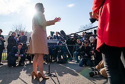 March 25, 2019 - Washington, District of Columbia, U.S. - White House Press Secretary SARAH SANDERS meets with reporters Monday morning, March 25, 2019, on the driveway outside the West Wing entrance to the White House (Credit Image: ? White House/ZUMA Wire/ZUMAPRESS.com)