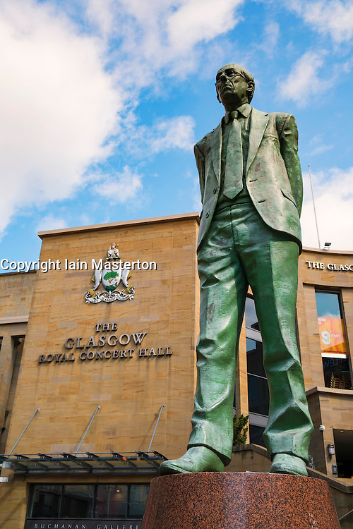 Statue of Donald Dewar outside Royal Concert Hall in Glasgow United Kingdom