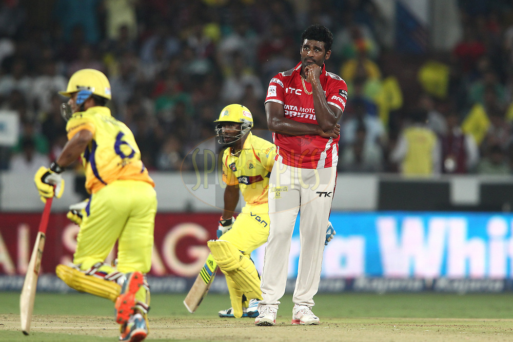 Thisara Perera of the Kings XI Punjab looks on after a close call during the second semi final match of the Oppo Champions League Twenty20 between the Kings XI Punjab and the Chennai Superkings held at the Rajiv Gandhi Cricket Stadium, Hyderabad, India on the 2nd October 2014<br /> <br /> Photo by:  Shaun Roy / Sportzpics/ CLT20<br /> <br /> <br /> Image use is subject to the terms and conditions as laid out by the BCCI/ CLT20.  The terms and conditions can be downloaded here:<br /> <br /> http://sportzpics.photoshelter.com/gallery/CLT20-Image-Terms-and-Conditions-2014/G0000IfNJn535VPU/C0000QhhKadWcjYs