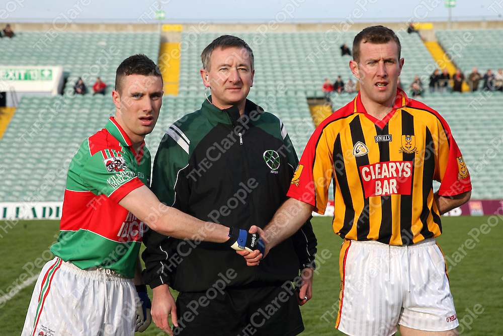 Kilmurry Ibrickane's Shane Hickey and Dromcollogher/Broadford's Tom McLoughlin before  their Munster final clash in the Gaelic Grounds on Sunday.<br /> Photograph by Yvonne Vaughan
