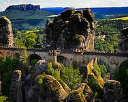 The Bastei Bridge in the Saxon region on the Elbe River in Germany.<br /> Photo by Dennis Brack