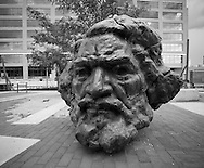 Sculpture in Baltimore.Frederick Douglas head , Fells point