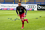 Morecambe midfielder John O'Sullivan warming up before the EFL Sky Bet League 2 match between Macclesfield Town and Morecambe at Moss Rose, Macclesfield, United Kingdom on 20 August 2019.