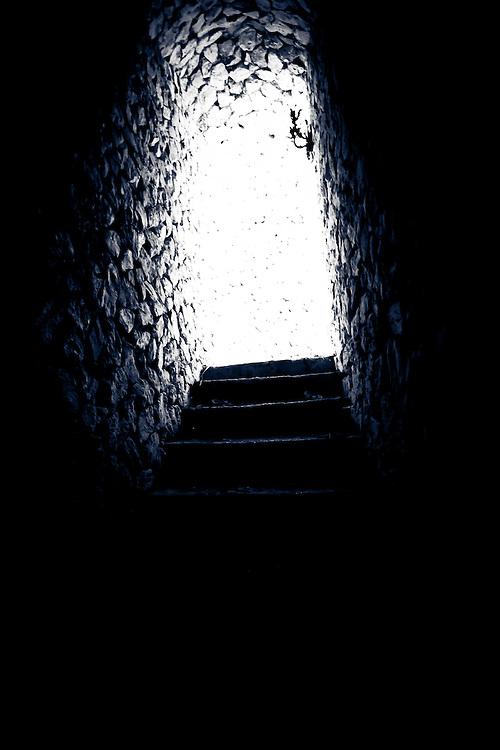 Black and White of Half-Illuminated Stone Stairwell, Fiji