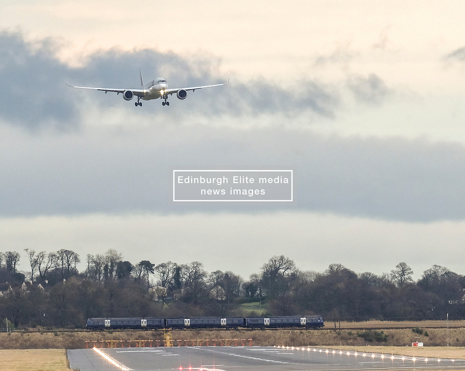 High Winds at Edinburgh Airport, Tuesday 7th January 2020<br /> <br /> Planes struggled on landing and take-off as high winds hit Edinburgh Airport today<br /> <br /> Pictured: A Qatar Airways Airbus A350-941 lands <br /> <br /> Alex Todd   Edinburgh Elite media