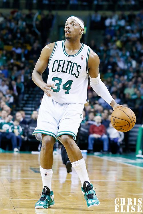 30 January 2013: Boston Celtics small forward Paul Pierce (34) looks to pass the ball during the Boston Celtics 99-81 victory over the Sacramento Kings at the TD Garden, Boston, Massachusetts, USA.