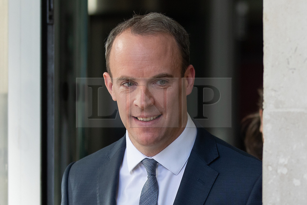 © Licensed to London News Pictures. 21/10/2018. London, UK. Secretary of State for Exiting the European Dominic Raab leaving BBC Broadcasting House after appearing on The Andrew Marr Show this morning. Photo credit : Tom Nicholson/LNP