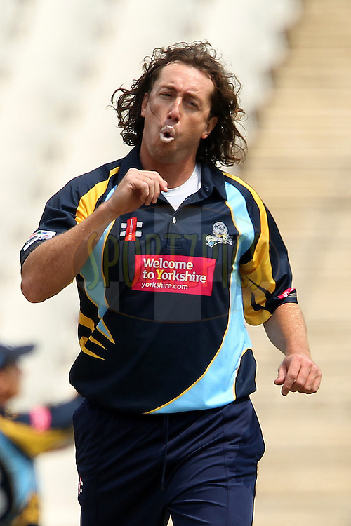Ryan Sidebottom reacts after bowling during 1st Qualifying match of the Karbonn Smart CLT20 South Africa between Uva Next and Yorkshire held at The Wanderers Stadium in Johannesburg, South Africa on the 9th October 2012..Photo by Ron Gaunt/SPORTZPICS/CLT20