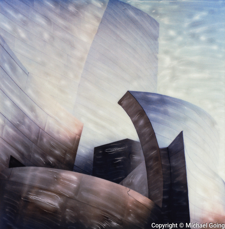 Altered Polaroid photo of Disney Hall