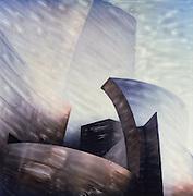 Altered Polaroid photo of Disney Hall