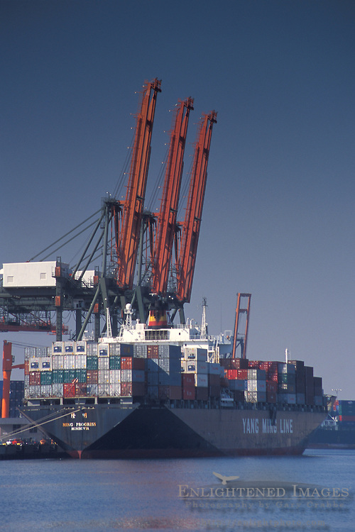 Container cargo ship and industrial shipping cranes at the Port of Los Angeles, San Pedro, California