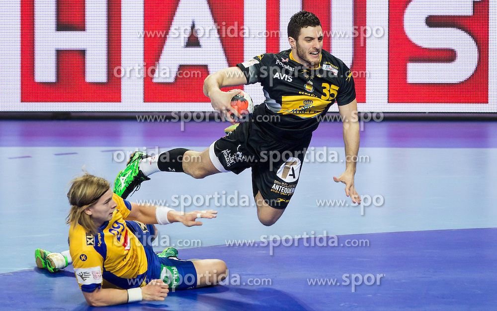 Andreas Cederholm of Sweden vs Niko Mindegia of Spain during handball match between National teams of Spain and Sweden on Day 6 in Preliminary Round of Men's EHF EURO 2016, on January 20, 2016 in Centennial Hall, Wroclaw, Poland. Photo by Vid Ponikvar / Sportida