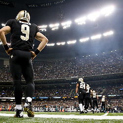 November 5, 2012; New Orleans, LA, USA; New Orleans Saints quarterback Drew Brees (9) against the Philadelphia Eagles before of a game at the Mercedes-Benz Superdome. The Saints defeated the Easgles 28-13. Mandatory Credit: Derick E. Hingle-US PRESSWIRE