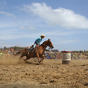 Melanie Ruxton from Outram in action during the Open Barrel Race at the Southland Rodeo, Invercargill,  New Zealand. 29th January 2012