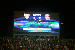 SEVILLE, SPAIN - Tuesday, November 21, 2017: The scoreboard records the 3-3 draw during the UEFA Champions League Group E match between Sevilla FC and Liverpool FC at the Estadio Ramón Sánchez Pizjuán. (Pic by David Rawcliffe/Propaganda)