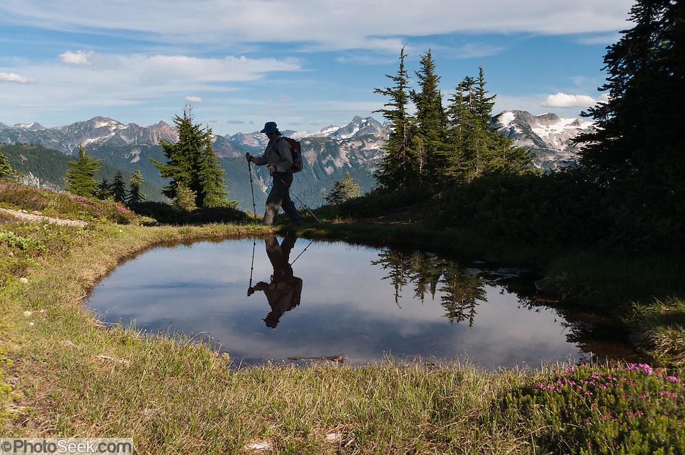 Hiker reflects in pond seen on Hannegan Peak, Mount Baker Wilderness, North Cascades, Washington, USA