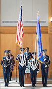Members of the Westbury Air Force JROTC present the colors during a groundbreaking ceremony at Westbury High School, February 16, 2017.