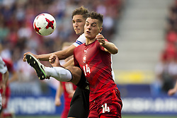 June 18, 2017 - Tychy, Poland - Patrick Schick of Czech fights for the ball during the UEFA European Under-21 Championship 2017 Group C match between Germany and Czech Republic at Tychy Stadium in Tychy, Poland on June 18, 2017  (Credit Image: © Andrew Surma/NurPhoto via ZUMA Press)