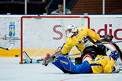 Goalie Dennis Karlsson without chance in Germany first goal at IIHF In-Line Hockey World Championships Quarter final match between national teams of Sweden and Germany on July 1, 2010, in Karlstad, Sweden. (Photo by Matic Klansek Velej / Sportida)