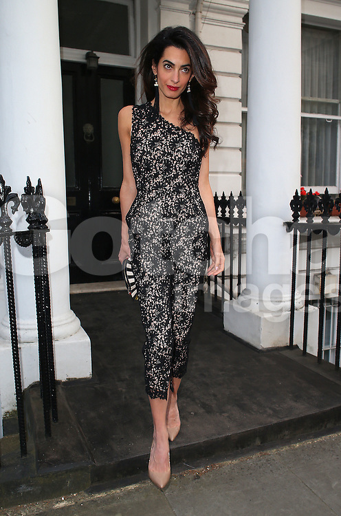 Amal Clooney looking stunning wearing a Stella McCartney lace jumpsuit and a pair of nude stiletto heels, before a night out with fashion designer Stella McCartney at the Electric House private members club in Notting Hill, London, UK. 23/06/2015<br />