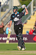 Ross Whiteley celebrates victory for Worcestershire Rapids  during the Natwest T20 Blast North Group match between Worcestershire County Cricket Club and Leicestershire County Cricket Club at New Road, Worcester, United Kingdom on 29 May 2015. Photo by Shane Healey.