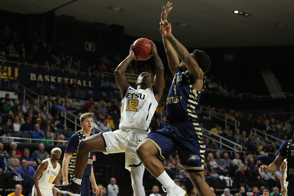 December 22, 2017 - Johnson City, Tennessee - Freedom Hall: ETSU guard Jalan McCloud (12)<br /> <br /> Image Credit: Dakota Hamilton/ETSU