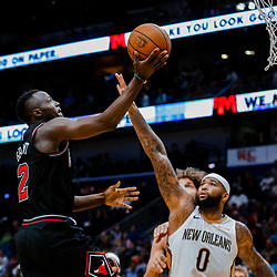 Jan 22, 2018; New Orleans, LA, USA; Chicago Bulls guard Jerian Grant (2) shoots over New Orleans Pelicans center DeMarcus Cousins (0) during the second quarter at  the Smoothie King Center. Mandatory Credit: Derick E. Hingle-USA TODAY Sports