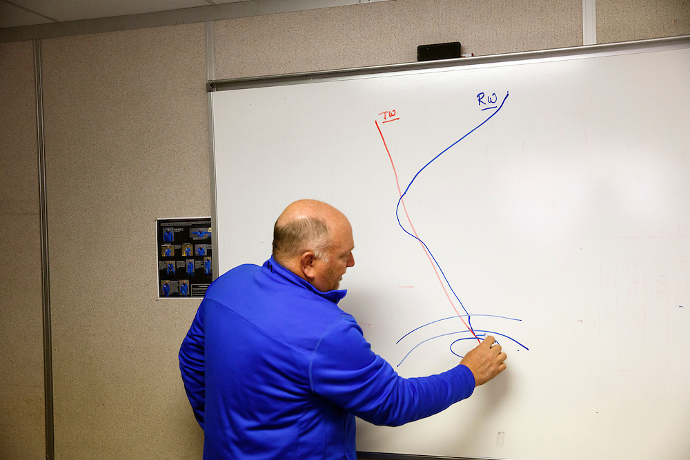 Rodger Schwecke of SoCalGas draws a basic diagram of how the relief well will intercept and stop the leak during an interview as methane gas leaks from the SoCalGas Aliso Canyon Storage Facility well SS-25 in the Porter Ranch neighborhood of Los Angeles, California on Wednesday, December 30, 2015. The Aliso Canyon gas leak (also called Porter Ranch gas leak) was a massive natural gas leak that started on October 23, 2015. According to Wikipedia, an estimated 1,000,000 barrels per day was released from a well within the underground storage facility in the Santa Susana Mountains near Porter Ranch. The second-largest gas storage facility it belongs to the Southern California Gas Company (SoCalGas), a subsidiary of Sempra Energy. On Jan. 6, 2016, Governor Jerry Brown issued a State of Emergency. The Aliso gas leak carbon footprint is said to be larger than the Deepwater Horizon leak in the Gulf of Mexico. On Feb. 11, 2016 the gas company reported that it had the leak under control. On Feb. 18 state officials announced that the leak was permanently plugged. An estimated 97,100 tonnes of methane and 7,300 tonnes of ethane was released into the atmosphere, making it the worst natural gas leak in U.S. history in terms of its environmental impact. © 2015 Patrick T. Fallon