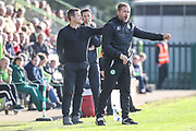 Forest Green Rovers assistant manager, Scott Lindsey and Forest Green Rovers manager, Mark Cooper on the touchline during the EFL Sky Bet League 2 match between Forest Green Rovers and Morecambe at the New Lawn, Forest Green, United Kingdom on 28 October 2017. Photo by Shane Healey.