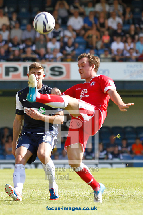 Picture by David Horn/Focus Images Ltd +44 7545 970036.18/08/2012.Ryan Leonard of Southend United and Michael Liddle of Accrington Stanley during the npower League 2 match at Roots Hall, Southend.