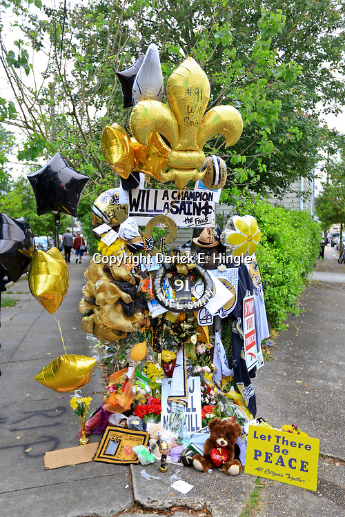 Apr 15, 2016; New Orleans, LA, USA; A view of a memorial to the retired NFL athlete Will Smith memorial at Sophie B. Wright Place and Felicity Street. Smith was shot and killed late Saturday night at the memorial location after being involved in a minor traffic accident. Mandatory Credit: Derick E. Hingle-USA TODAY Sports