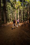 Ross Creek Cedars Scenic Area, Montana, Western Red Cedars, tourists, couple, hike