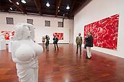 """55th Art Biennale in Venice - The Encyclopedic Palace (Il Palazzo Enciclopedico).<br /> San Giorgio Maggiore, Fondazione Giorgio Cini.<br /> Marc Quinn.<br /> """"Chelsea Charms"""" (l.), 2010.<br /> """"Flesh Painting (On Calligraphy)"""", 2013."""