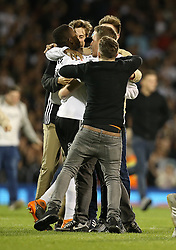 Fulham fans celebrate with Ryan Sessegnon of Fulham after the match - Mandatory by-line: Paul Terry/JMP - 14/05/2018 - FOOTBALL - Craven Cottage - Fulham, England - Fulham v Derby County - Sky Bet Championship Play-off Semi-Final
